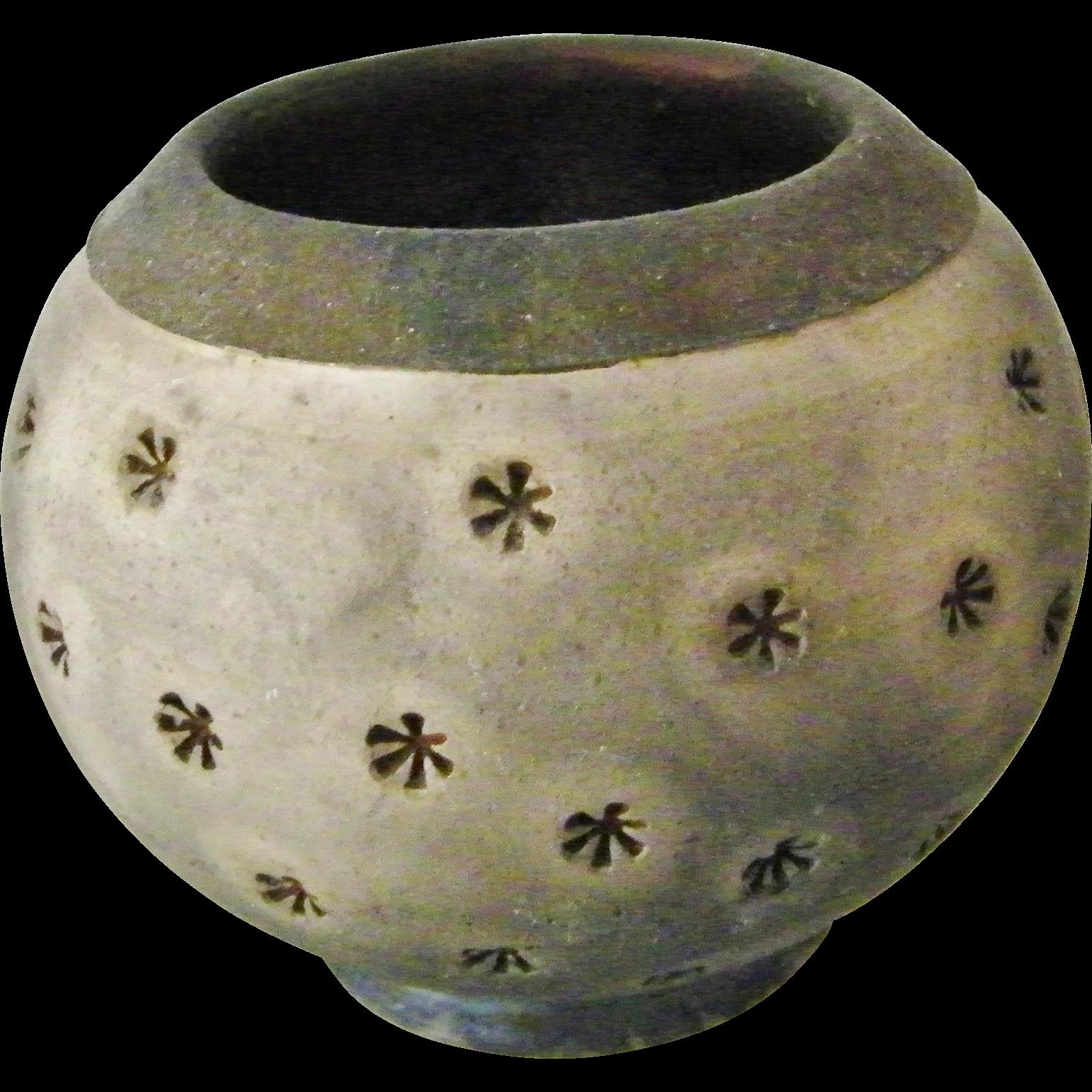 Signed Art Studio Pottery Raku Pot Vase Black Gray