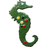 Large Enamel over Copper Seahorse Brooch
