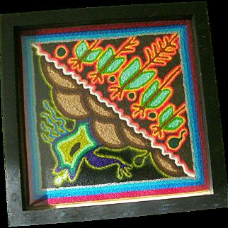 Huichol Indian Yarn Painting Folk Art Mexico