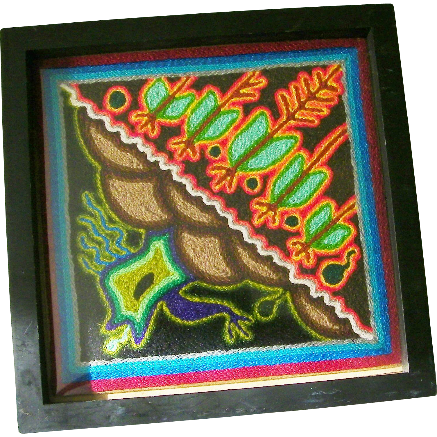 Huichol Indian Yarn Painting Folk Art Mexico