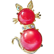 Aurora Borealis Rhinestones and red Moonglow Jelly Belly Cat Brooch