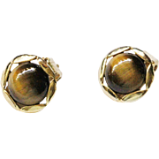 Tiger Eye Clip Earrings