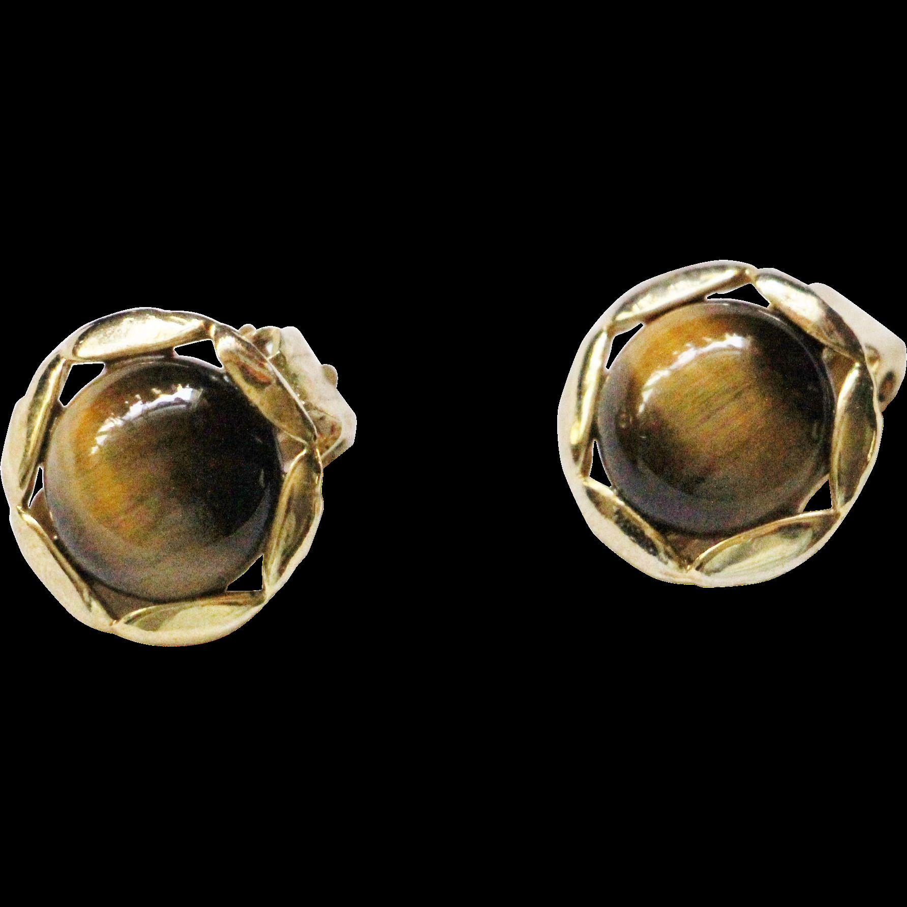 Tiger Eye Clip Earrings