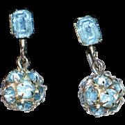 Blue Rhinestone Ball Drop Earrings