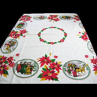 Vintage Christmas Tablecloth Poinsettias Carolers Mint