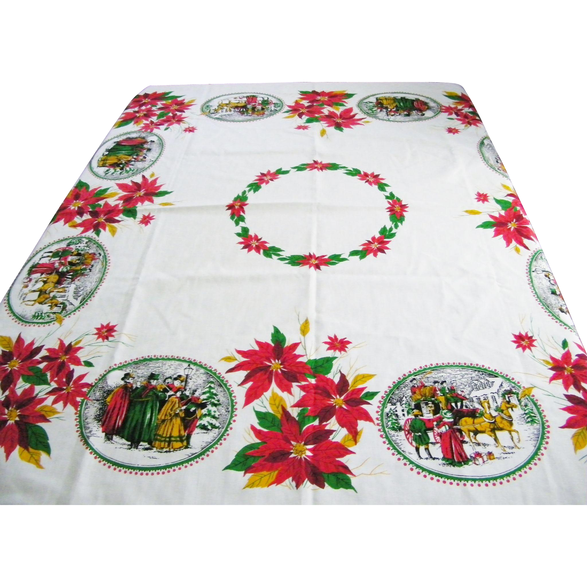 Vintage Christmas Tablecloth Poinsettias Carolers Mint
