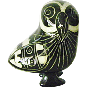 Tonala Mexican blackware pottery Owl bird figurine folk art