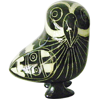Tonala Mexican blackware pottery Owl bird figurine folk art
