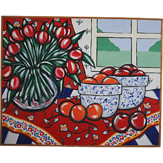 Large 25 x 31 Original Brooke Howie Acrylic on Canvas Still Life