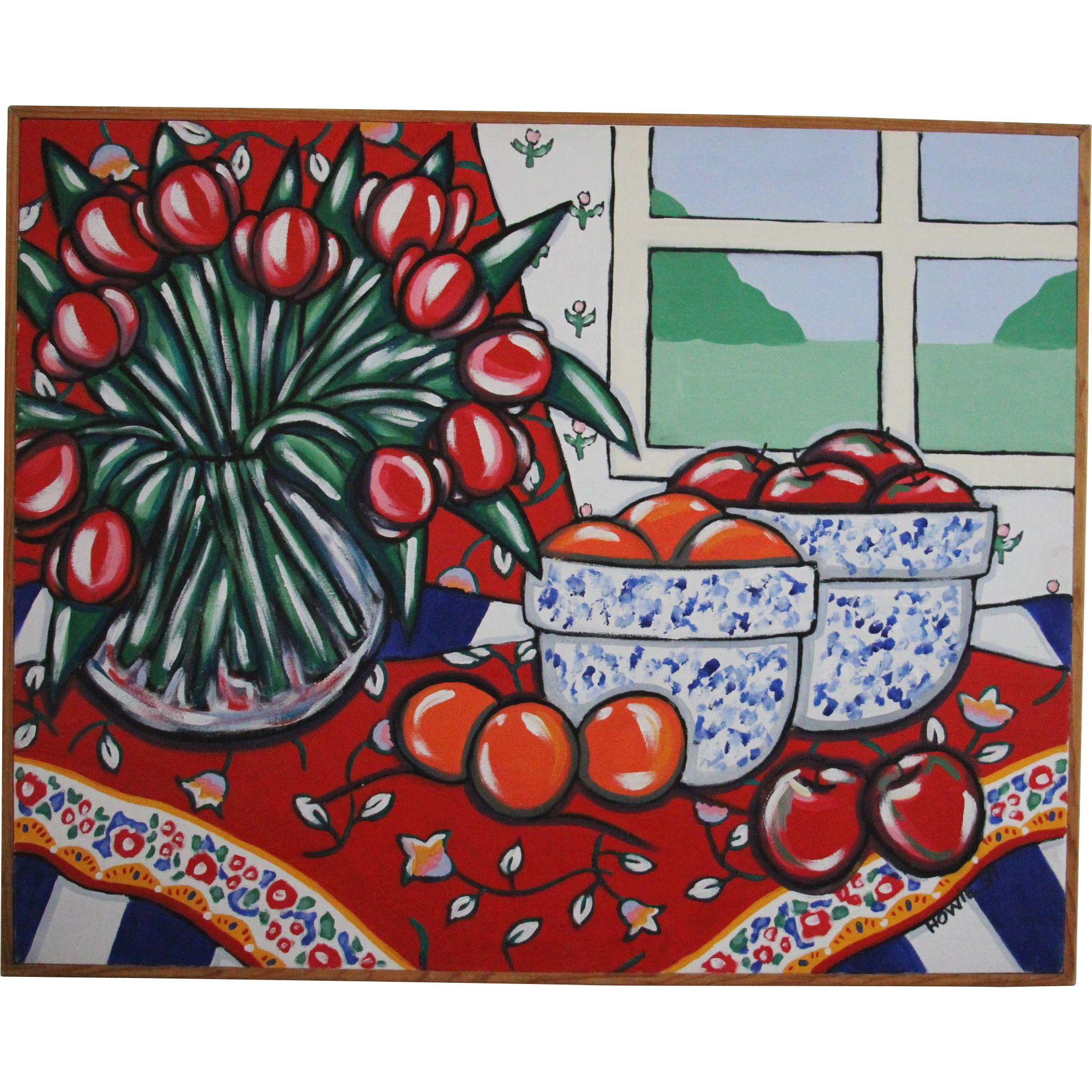 Huge Original Brooke Howie Acrylic on Canvas Still Life