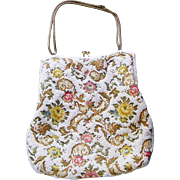 Embroidered Beaded  White Floral Evening Bag Purse Gold tone frame