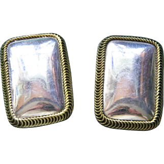 Large Taxco Sterling Silver Clip Earrings 27.6 grams Mexico Silver