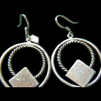 Double Hoop Sterling Silver Pierced Earrings 14.2 grams