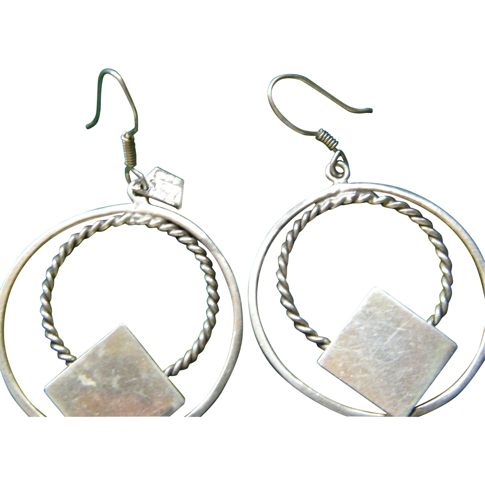 Double Hoop Sterling Silver Pierced Earrings 14.2 grams