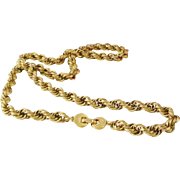 "Vintage Monet 26"" Braided Rope Gold Tone Chain  necklace mint"