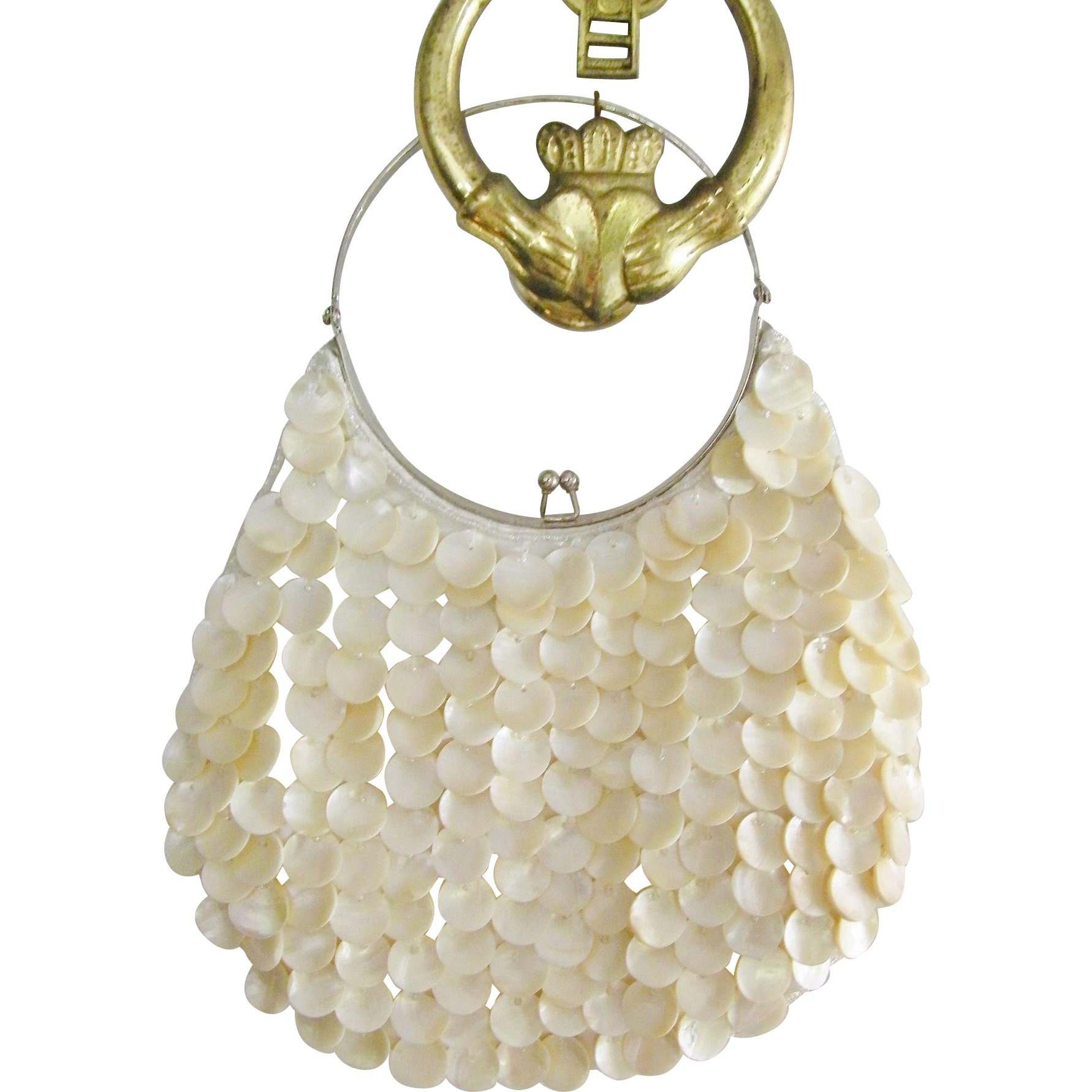 White Mother of Pearl Shell Silk Evening Bag Purse Wedding Bag