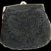 Nordstrom Hand Made Black Beaded Evening Bag Clutch Purse