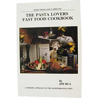 The Pasta Lovers Cookbook signed Jim Rua Cafe Capriccio N.Y.Mediterranean 1st Edition