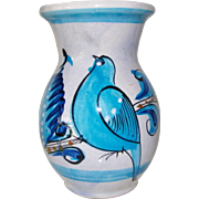 Ken Edwards Blue Tonala Vase made in Mexico Bird Motif