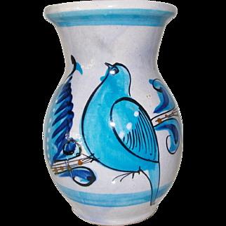 Ken Edwards Blue Tonala Vase made in Mexico Bird Motif