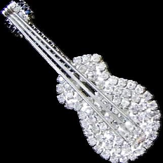 Faux Sapphire and Diamond Rhinestone Guitar Brooch