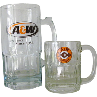 Two Extra Large A&W Glass Root Beer Mugs