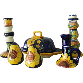 7 pieces Talavera Pottery tableware from Mexico Cobalt Blue and Yellow