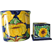 Talavera Bathroom Accessories Tissue Box Cover Trash Can Made in Mexico
