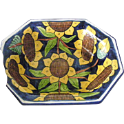 Large Octagonal Talavera Serving Bowl Sunflowers 13 inches Mexico