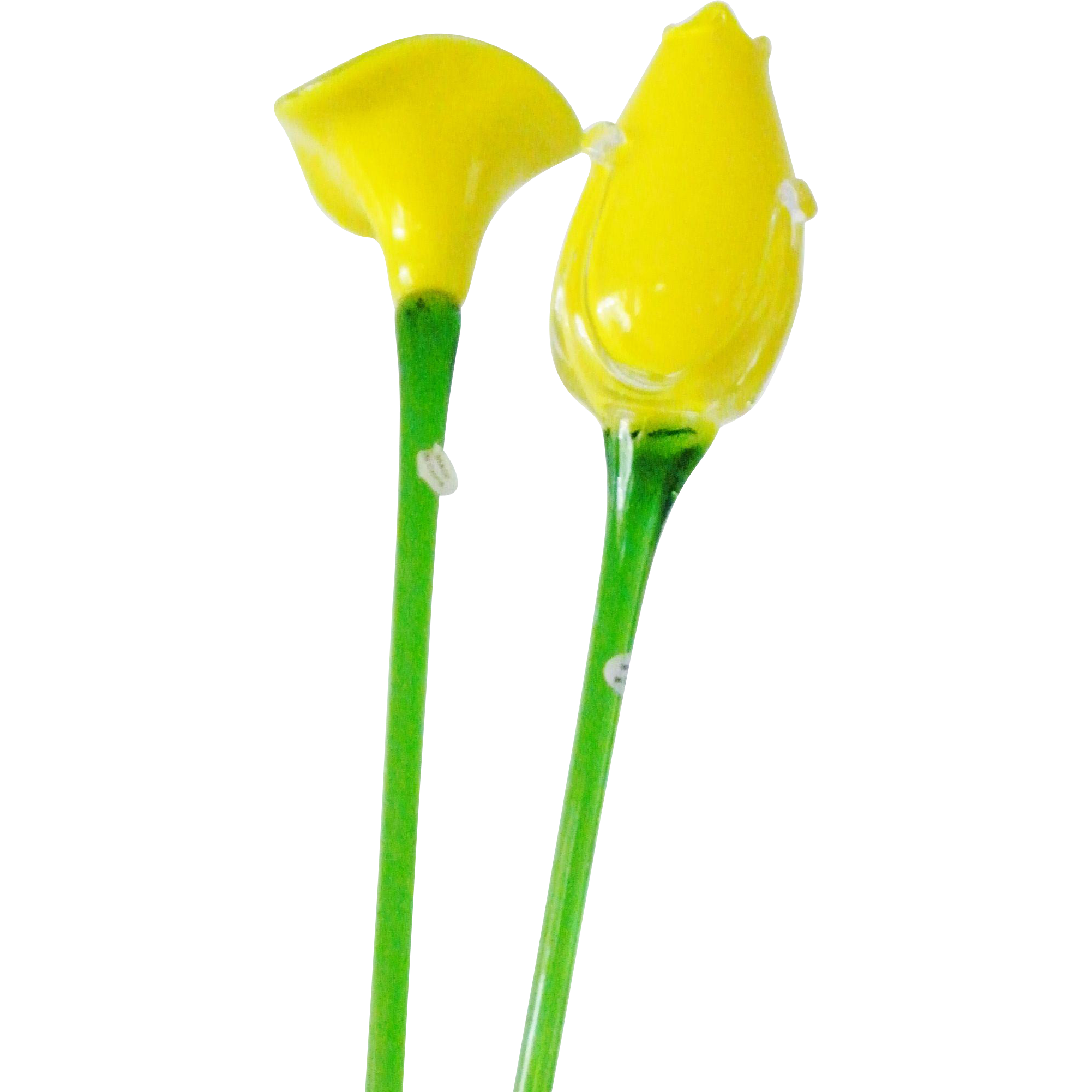Long Stem Yellow Glass Flowers Tulip  and Cala Lily 20 inches Mint Condition