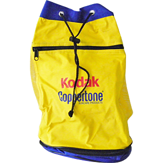 Vintage New Kodak Coppertone Bucket Tote Backpack with zipped thermal bottom