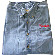 KODAK Men's Large Blue Denim Button Down Shirt by Port Authority