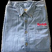 KODAK Men's Large Blue Denim Button Down Shirt by Port Authority