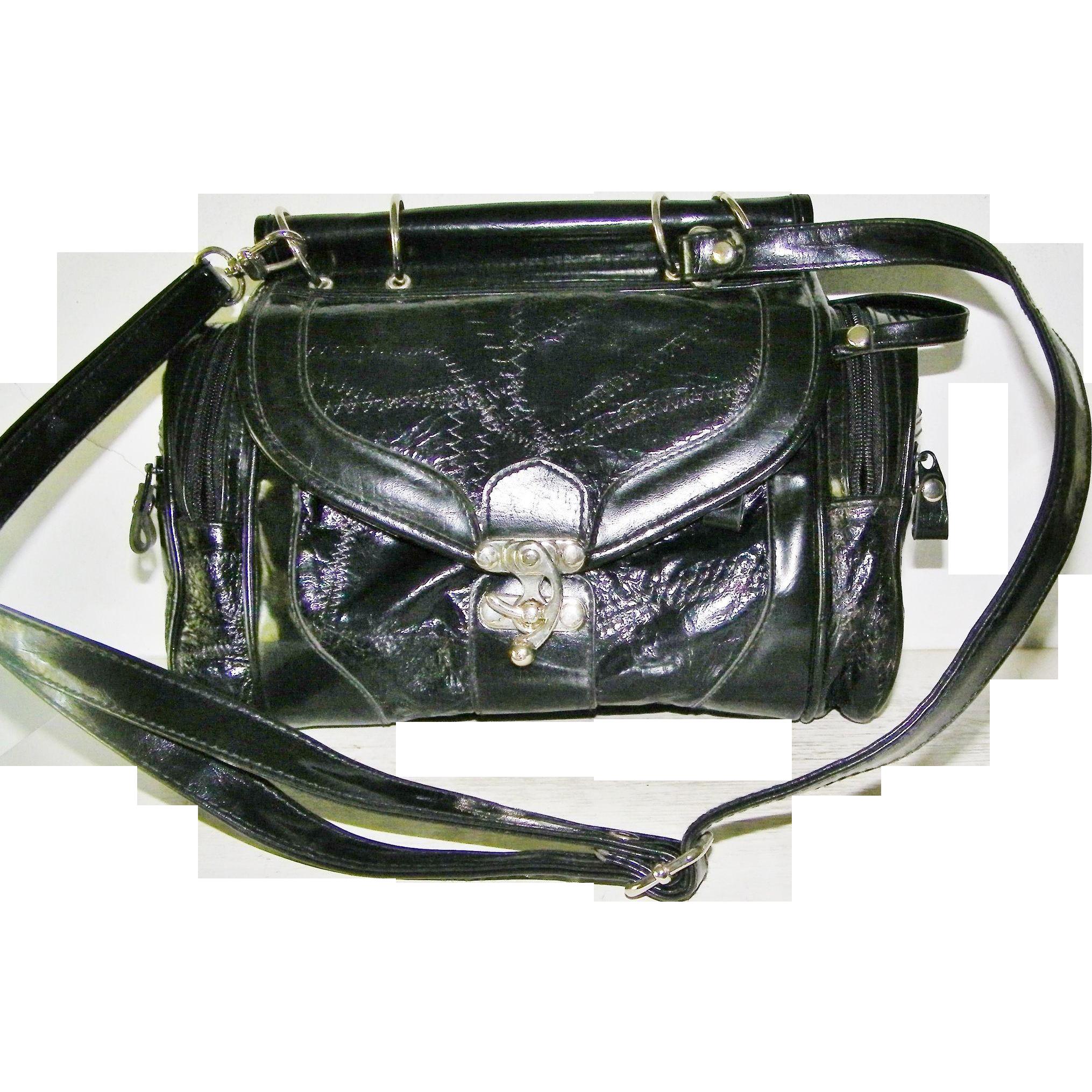 Black Patent Handbag convert Shoulder Bag
