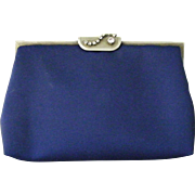 Hand Made Blue Silk Rhinestone Evening Bag Converts to Clutch by DuVal