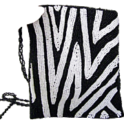 Black and White Beaded Evening Bag Purse  Cross Body bag