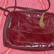Genuine Red  Leather  Shoulder Bag Embossed Alligator