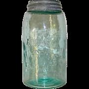 Vintage Atlas Mason Patent Quart Canning Jar Aqua Zinc Lid