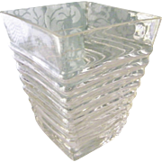 Trapezoid Ribbed Clear Glass Vase Art Deco