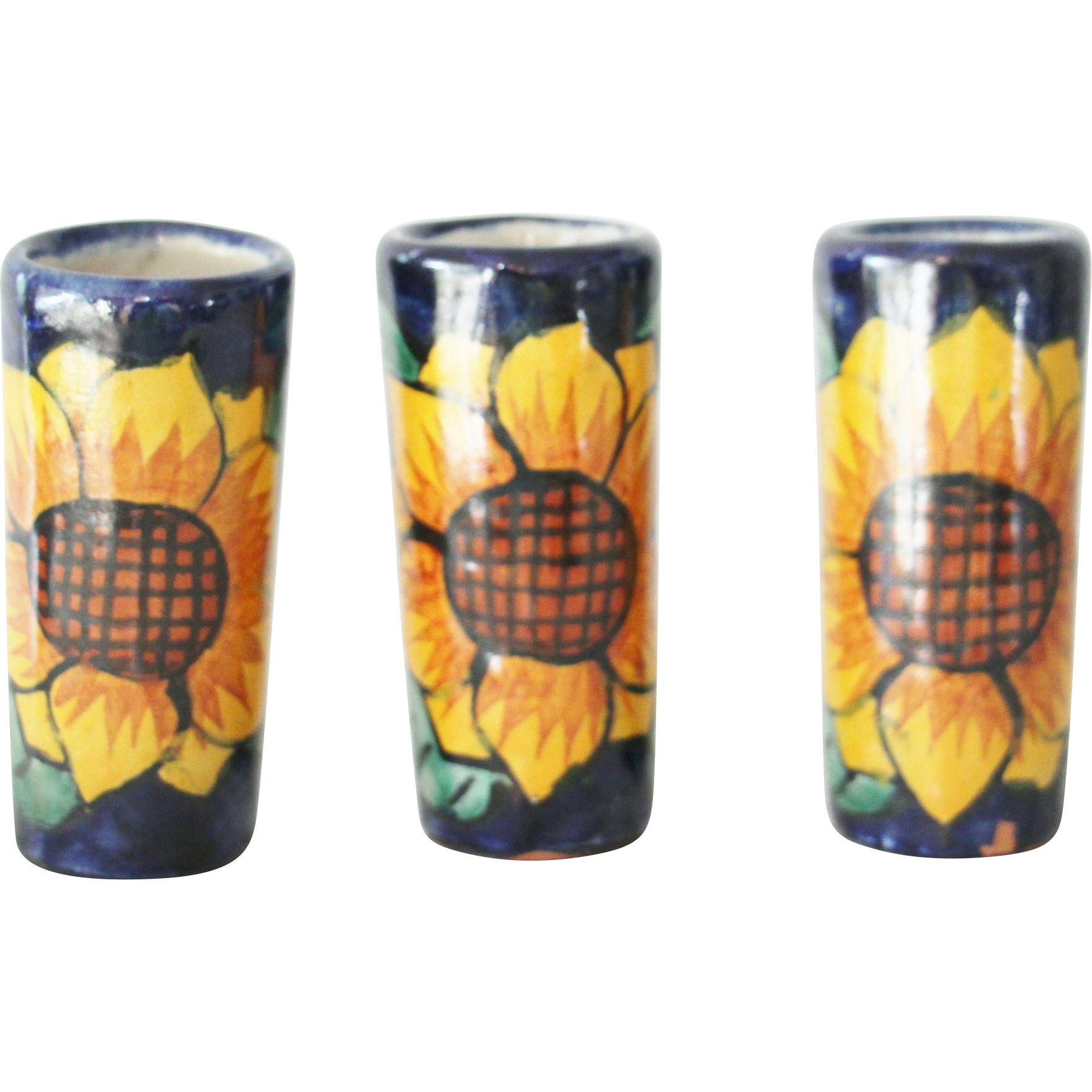 3 Sunflower Mini Vases Tumblers Tequila Shot Glasses Cordial Cups