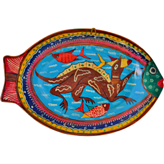 Vintage Mexico Redware Pottery Fish Platter Wall Hanging Folk Art