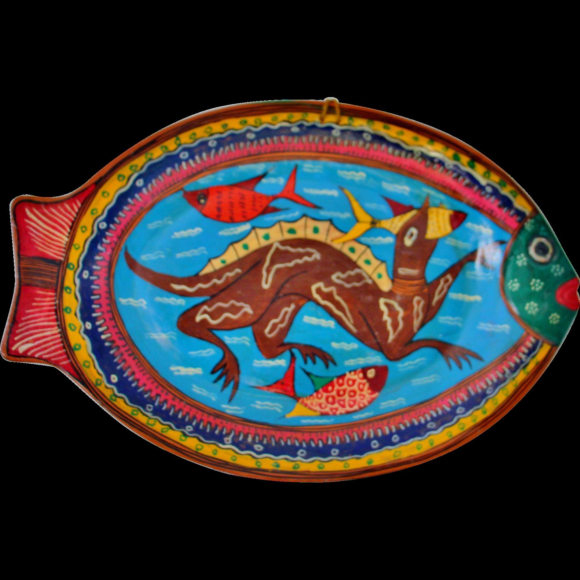 Vintage Mexico Redware Pottery Fish Platter Wall Hanging Folk Art