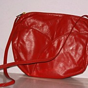 Red Leather shoulder bag  purse new with tags - Red Tag Sale Item