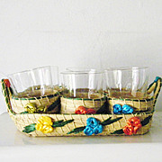 Wicker Serving Set Drinking Glasses 6 stackable Mint Entertainment