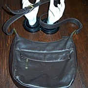 "Brown Leather Hobo 12"" Shoulder Bag"