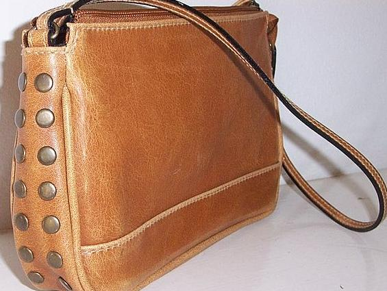 vintage brass studded Brown Leather handbag from kitchengarden on ...