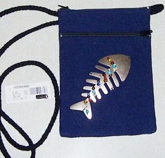 Cross Body Purse  Metal Fish and Glass Beads New with tags