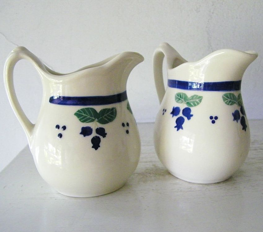 2 Blueberry Jugs  Restaurantware china SIGNED