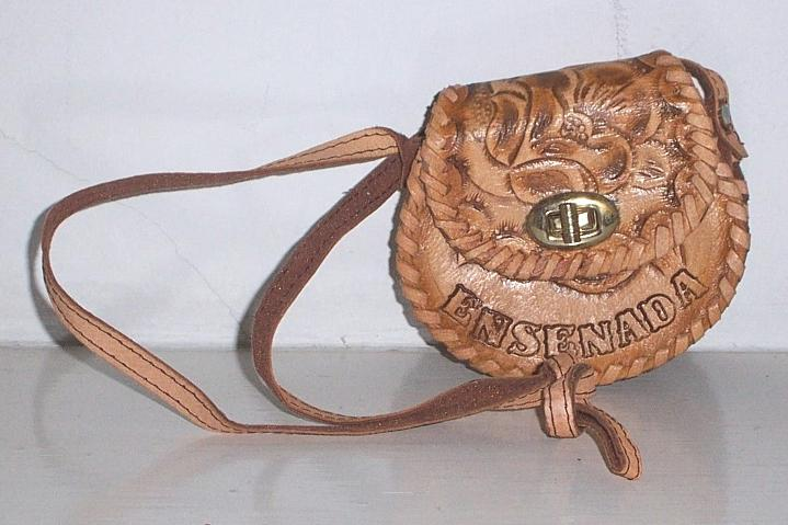 Tooled Leather Handbag child size  Mexico Mint