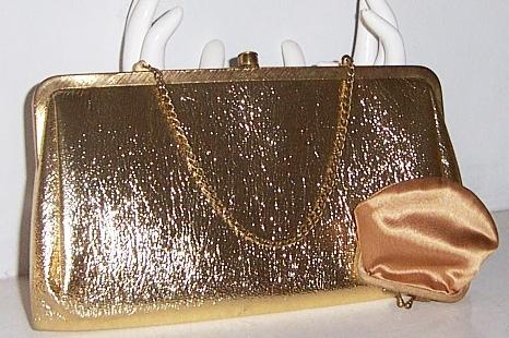 Gold clutch Purse with Coin Purse and chain for handbag